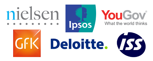 Logos of international customers - Nielsen, IPSOS, YouGov, Gfk, Deloitte and ISS